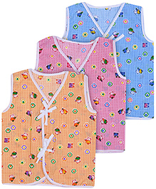 Babyhug Front Open Vest Sleeveless Printed - Set of 3