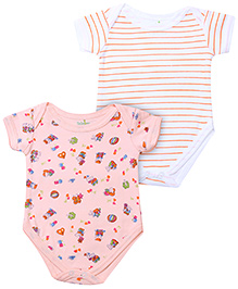 Babyhug Short Sleeve Onesies Stripes And Animal Print - Set of 2