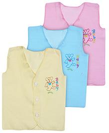 Babyhug Front Open Vest Baby Embroidery - Set of 3