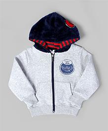 Light Gray Plush Hoodie Jacket