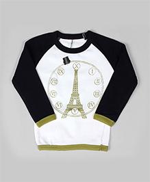 Raglan Eiffel Print Sweatshirt - White