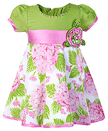 Babyhug Party Frock - Floral Print And Motif