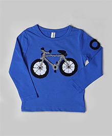 Azure Blue Bicycle Embroidered Tee