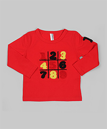 Red Numerical Embroidered Tee