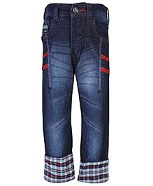 Babyhug Denim Jeans Folded Checks Bottom - Blue