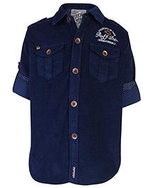 Ruff Shirt Full Sleeves Front Pockets - Navy Blue