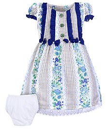 Babyhug Short Sleeve Frock With Bloomer - Floral Print