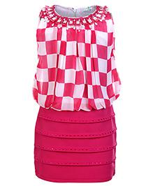 Babyhug Sleeveless Party Dress - Checks Pattern With Diamond Detailing