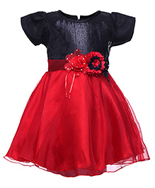Softouch Short Sleeves Frock - Floral Applique