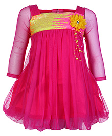 Softouch Full Sleeves Frock Pink - Floral Applique