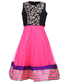 Doll Sleeveless Party Frock - Embroidery
