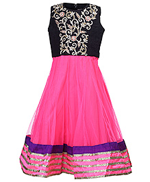 Doll Sleeveless Party Wear Dress - Embroidered