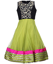 Doll Sleeveless Party Wear Dress Floral Self Pattern - Green And Black