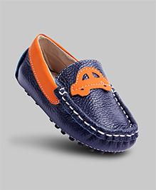 Leather Car Applique Mocassins - Blue