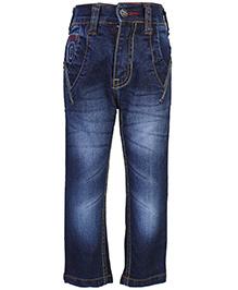 Babyhug Monkey Wash Denim Jeans - Embroidery