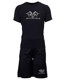 Invincible Half Sleeve T-Shirt And Shorts Set - Black