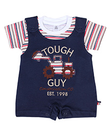 ToffyHouse Dungaree Style Romper With Half Sleeves T Shirt - Blue