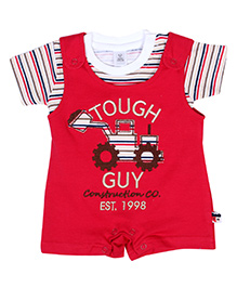 ToffyHouse Dungaree Style Romper With Half Sleeves T Shirt - Red