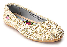 Barbie Belly Shoes Golden - Lace And Glitter Work