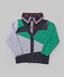 GLN Dim Gray And Green Color Block Sweater