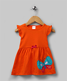 Tangelo Orange Butterfly Applique Dress
