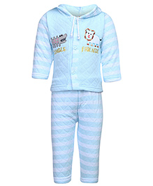Babyhug Full Sleeves Hooded Winter Set - Quilted Pattern