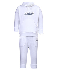 Invincible Hooded Fleece T-Shirt And Legging Set - White - 6 To 12 Months