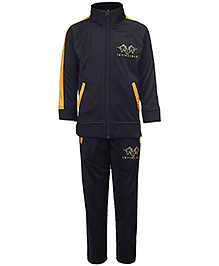 Invincible Full Sleeve Track Suit - Black And Yellow