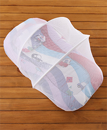 Babyhug Premium Gadda Set With Mosquito Net - Mini Cars Print