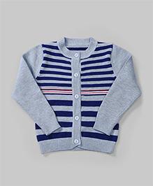Stripe Winter Cardigan - Grey And Blue