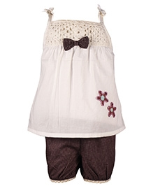 ShopperTree Singlet Lacy Top And Shorts Set - Bow Applique