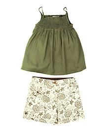 ShopperTree Beautiful Print Shorts with Rayon Top Set - Smoke Pattern