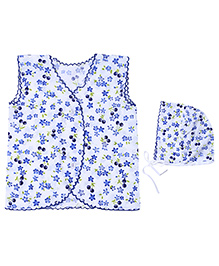 Babyhug Sleeveless Vest And Cap - Floral Print