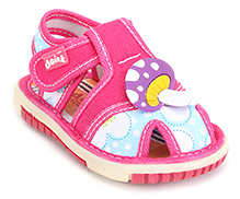 Doink Baby Sandals Velcro Closure - Mushroom Applique