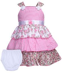 Babyhug Sleeveless Frock With Bloomer - Flower Prints