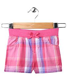 Pink Plaid Casual Shorts