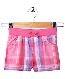 Pink Plaid Casual Shorts