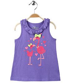 Purple Flamingo Ruffled Neck Top