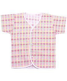 Babyhug Half Sleeves Front Open Vest - Checks Print