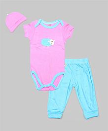 Pink  & Turquoise 3 Pcs Sheep Layette Set