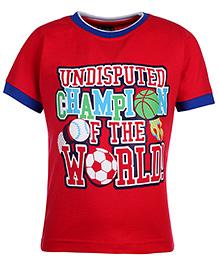 Taeko Half Sleeve T-Shirt Printed - Red