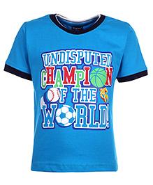 Taeko Half Sleeve T-Shirt Printed - Blue