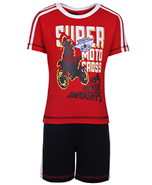 Taeko Half Sleeve T-Shirt And Shorts - Motor Championship Print