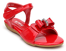 Bash Sandal With Bow And Stone Work - Red