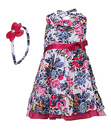 Nauti Nati Halter Neck Frock With Hairband - Floral Prints