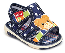 Doink Baby Sandals Velcro Closure - Teddy Applique