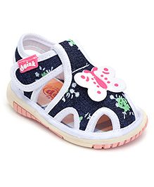 Doink Baby Sandals Velcro Strap - Butterfly Applique