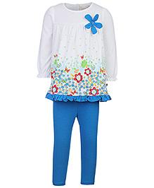 Nauti Nati Full Sleeves Tunic And Legging Blue - Floral
