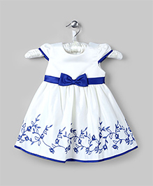 White And Blue Floral Embroidered Dress