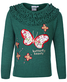 Babyhug Full Sleeves Sweater - Butterfly Embroidery
